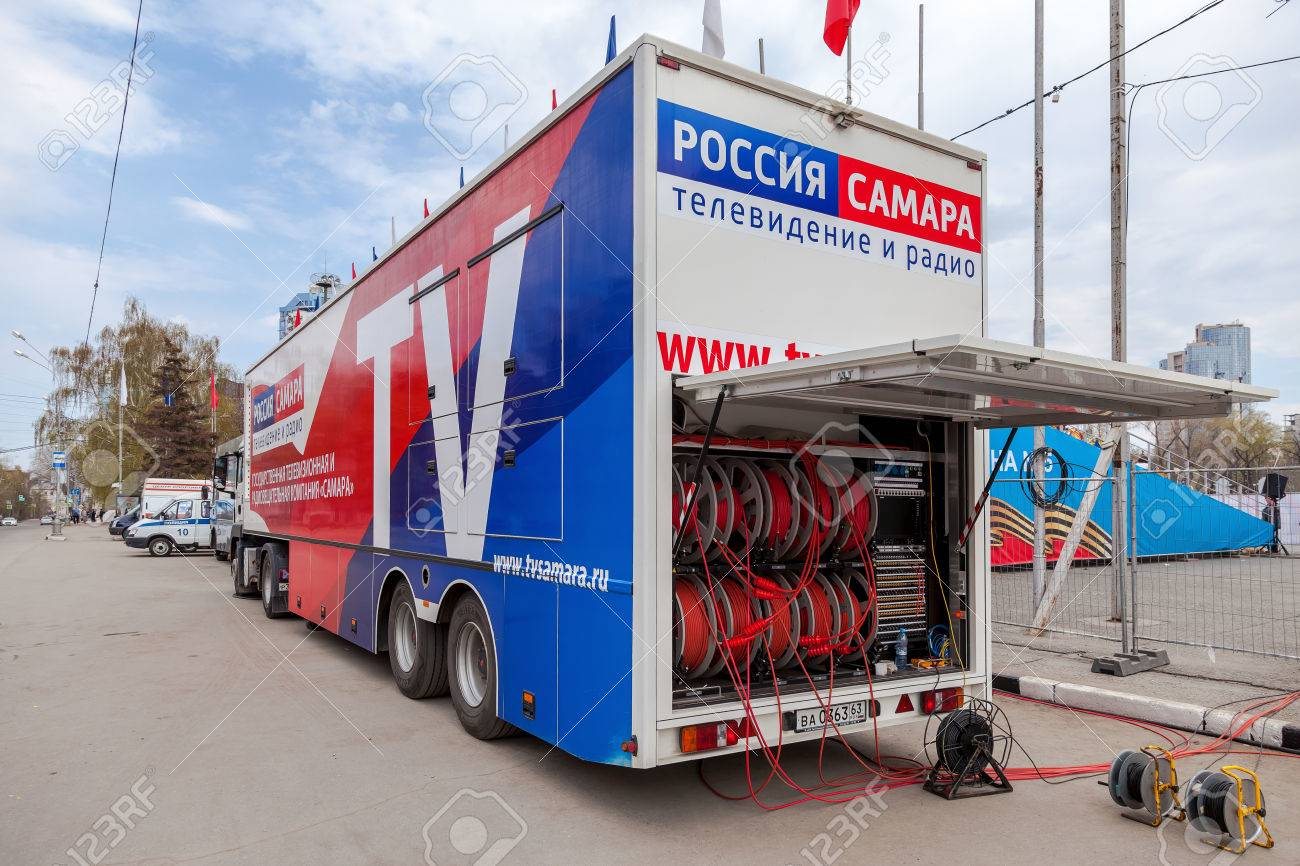 SAMARA, RUSSIA - MAY 1, 2015: Mobile television station a state-owned