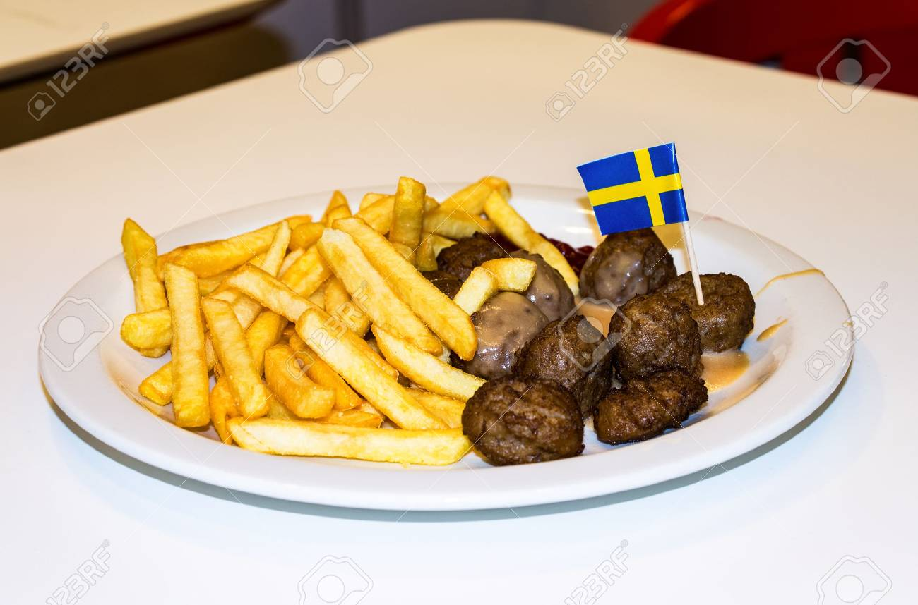 SAMARA, RUSSIA - APRIL 10, 2016: Lunch at the IKEA restaurant. French fries meatballs - 55623558