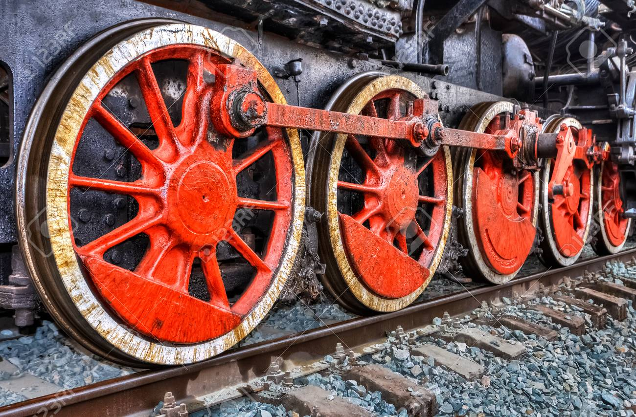 Old Steam Locomotive Engine Wheel And Rods Details Stock Photo ...