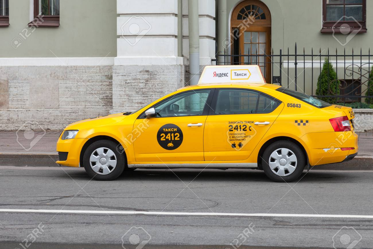 ST  PETERSBURG, RUSSIA - JULY 29, 2016: Yandex taxi at the city