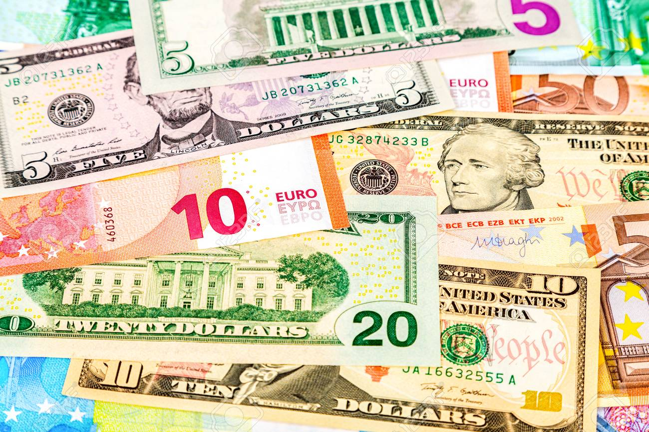Money Background From Paper Currency Of Euro And American Dollars Stock P O 88993040