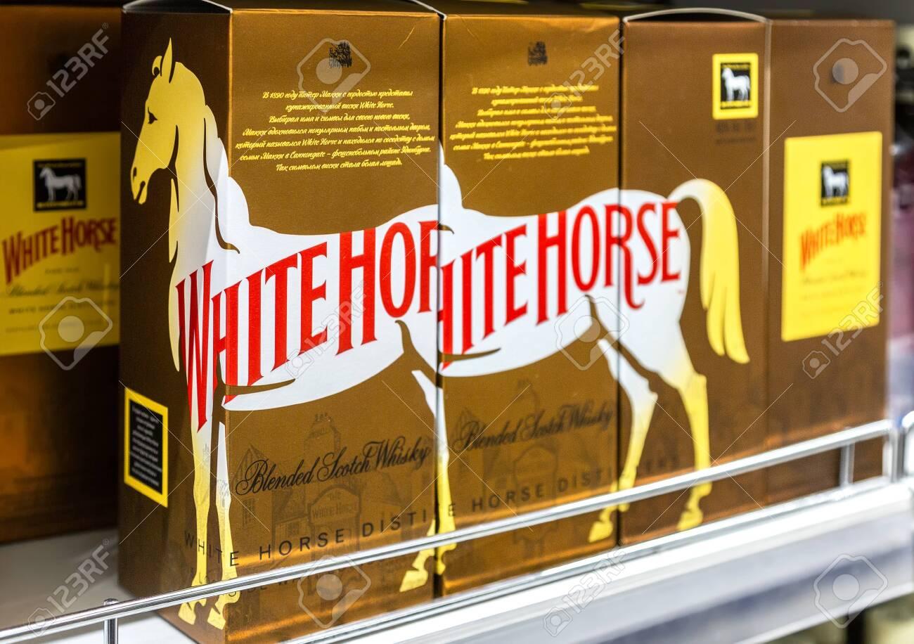 Samara Russia February 15 2020 White Horse Whiskey Ready For Sale On The Shelf In Superstore Various Bottled Alcoholic Beverages Fotos Retratos Imagenes Y Fotografia De Archivo Libres De Derecho Image 140912490