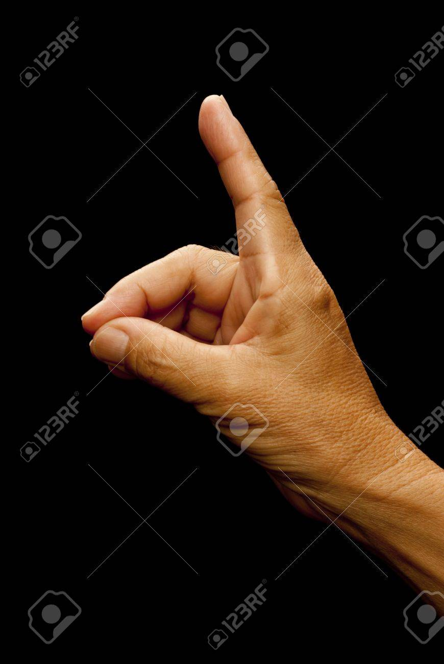 American Sign Language (ASL) used for the letter D used by the Deaf and Mute Society Stock Photo - 8584376