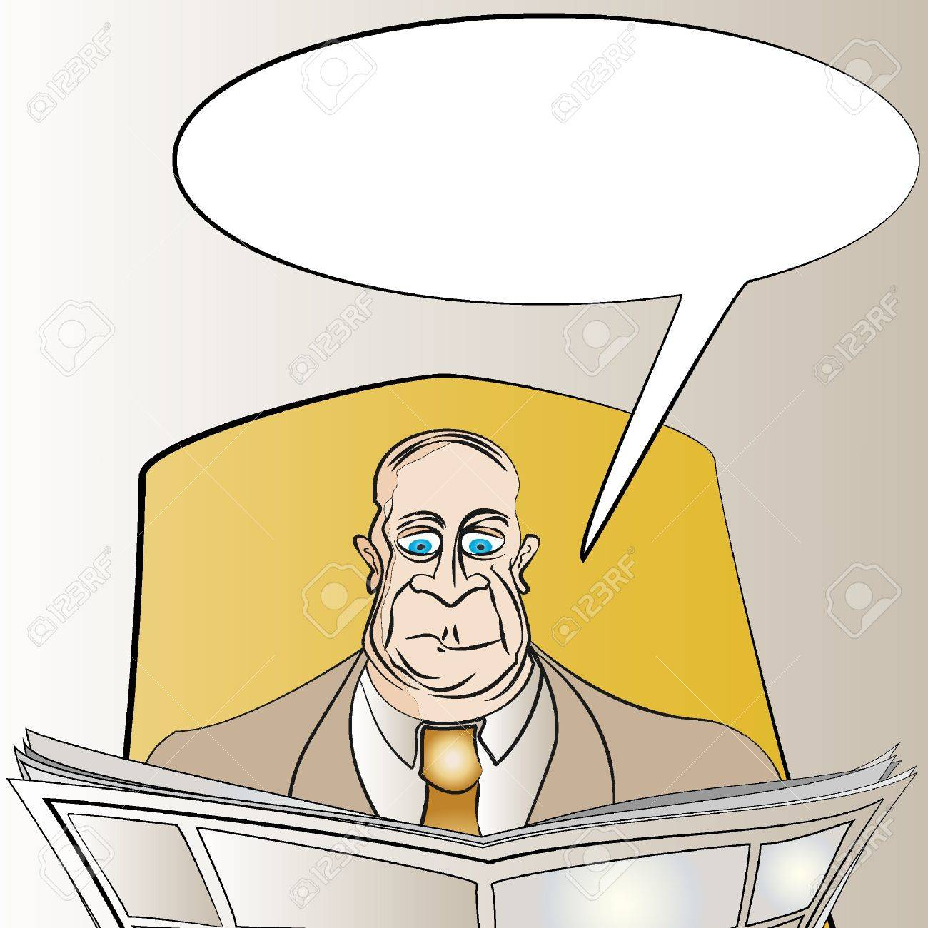 Man Reading News with Copy Space on Newspaper & Message Board Vector Stock Vector - 10927696
