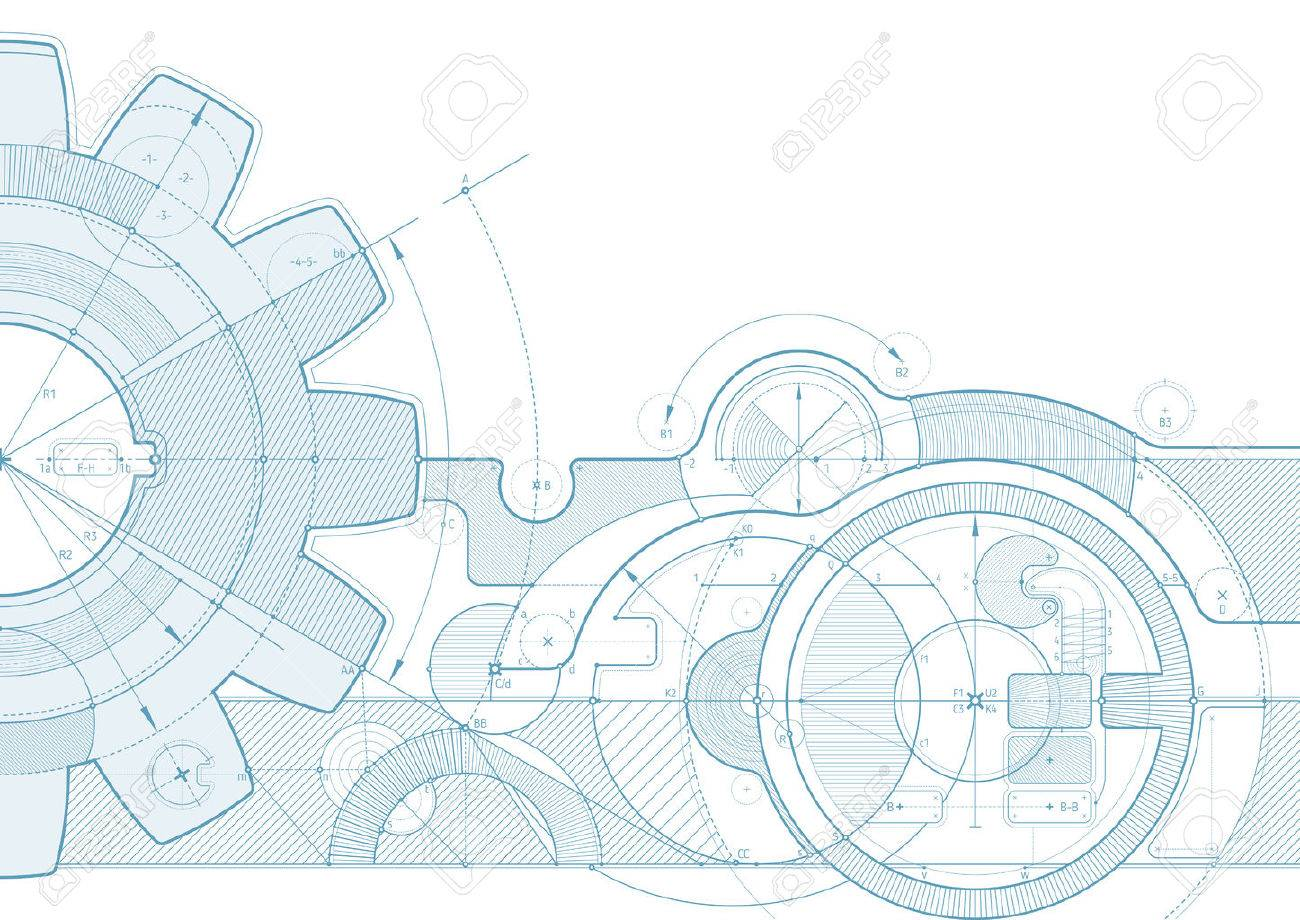 Vector draft background with a gear element. Can be easily colored and used in your design. - 51153067