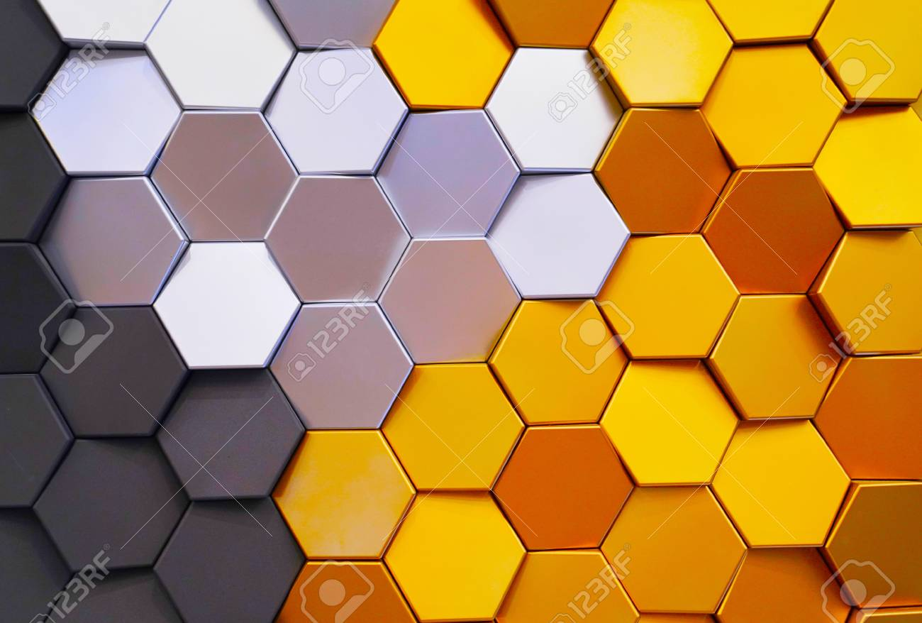 Honeycomb Shape Colorful Decorative Ceramic Tiles On Wall Stock ...