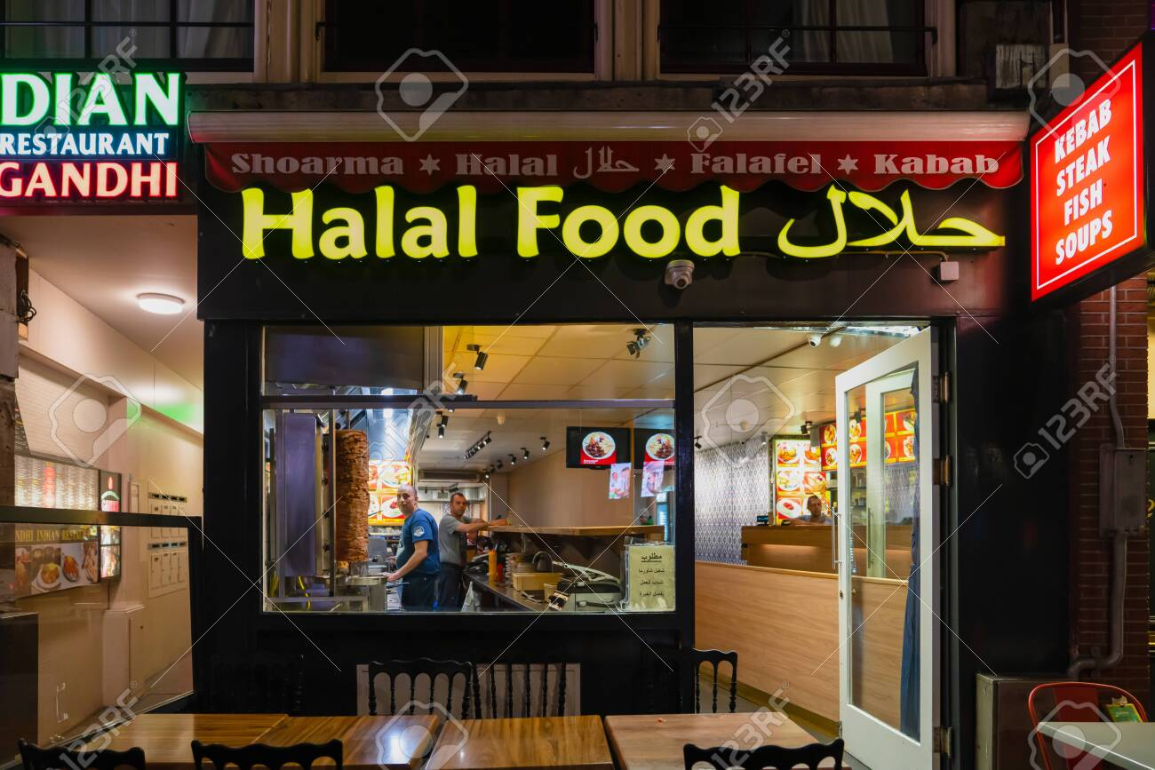 Amsterdam Holland October 06 2019 Halal Food Store With Doner Stock Photo Picture And Royalty Free Image Image 133577328