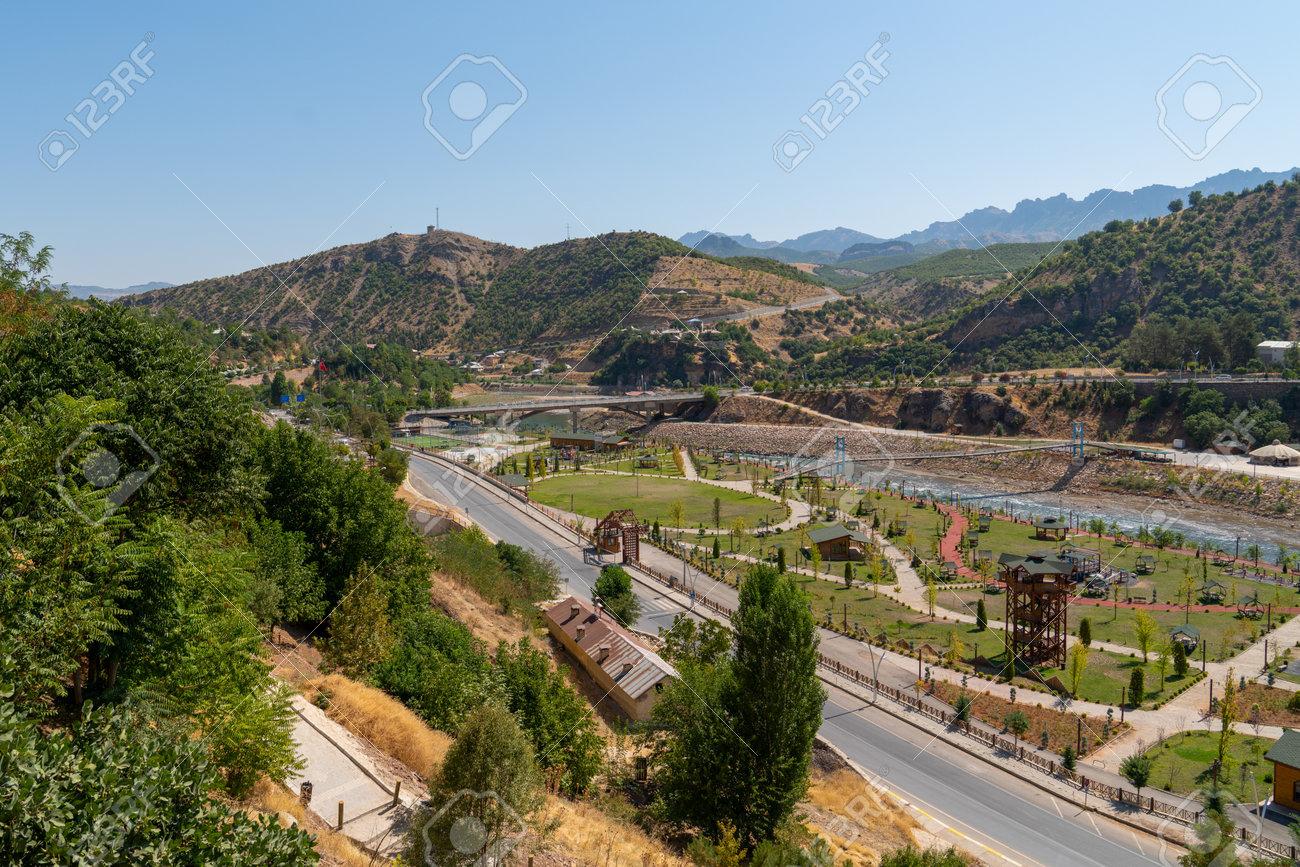 Tunceli, Turkey-September 18 2020: Tunceli city with Munzur river - 160262693