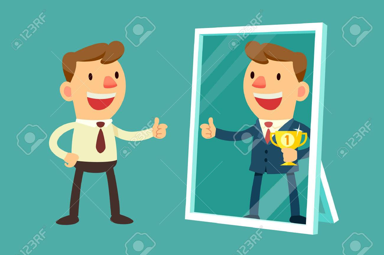 Illustration of business man see himself being successful in a mirror - 40127678