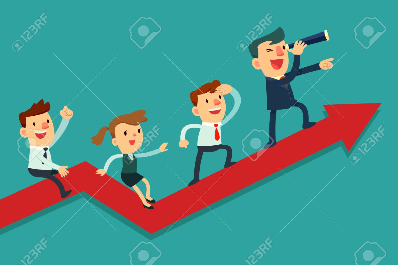 team leader stock vector illustration and royalty team team leader illustration of team of businessman on arrow graph team leader has telescope