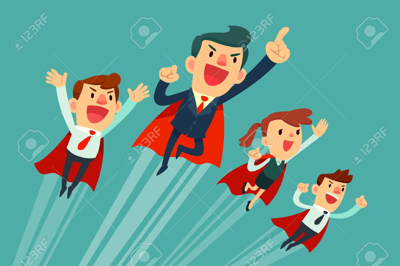 Super business team-team of super businessmen in red capes flying upwards to their success - 58238646