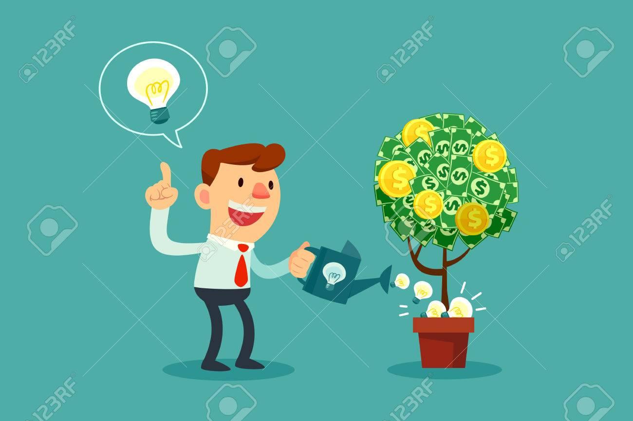 Happy businessman watering money tree with idea bulbs. - 61422899