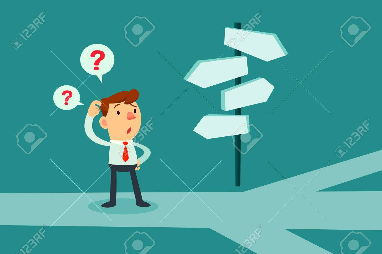 Businessman standing at cross road confused by direction signs. Choices and decision concept. - 64882472