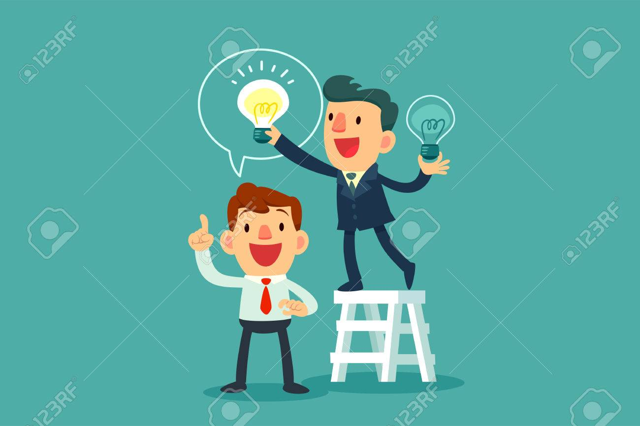 successful businessman give another businessman new idea bulb - 67008805
