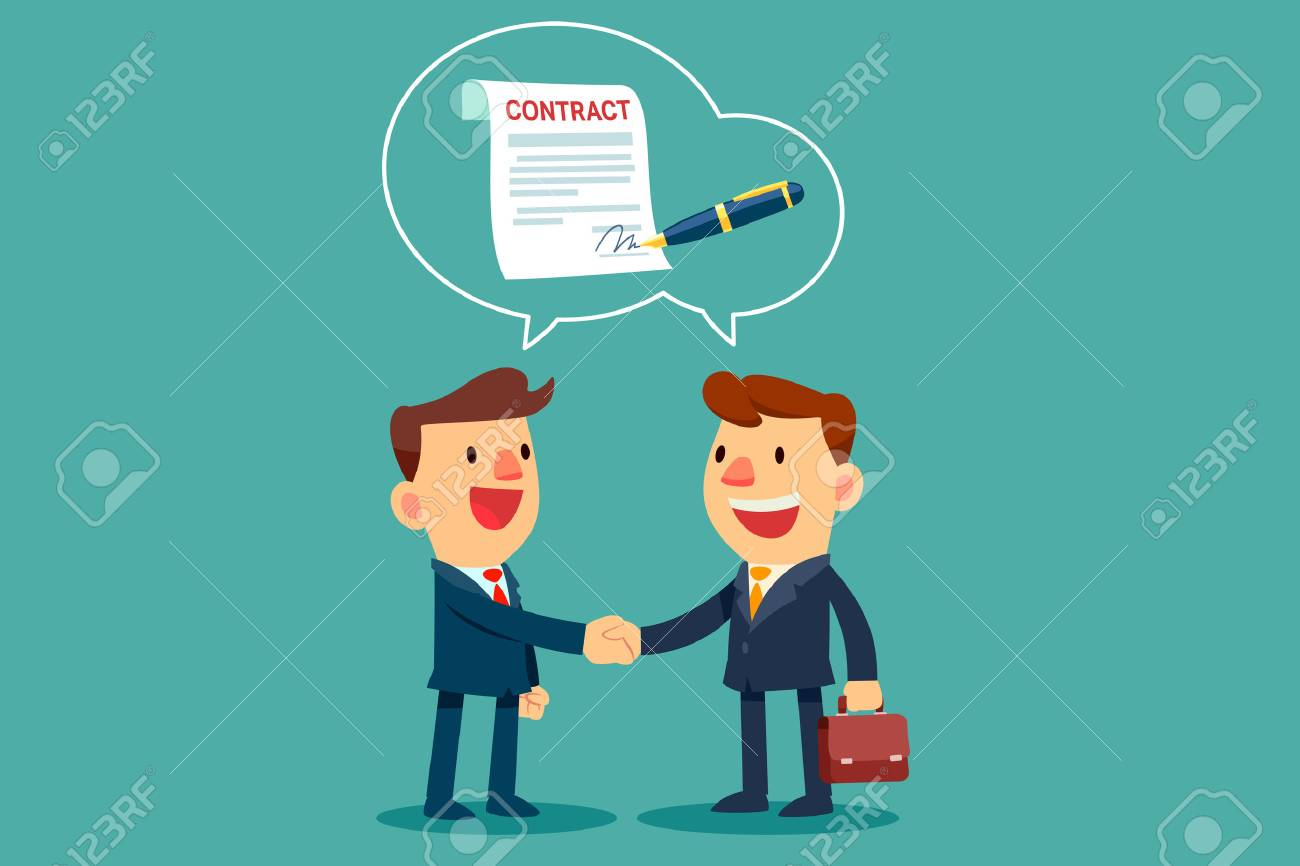 two businessmen shaking hand and agree to sign contract after successful business discussion. Business agreement concept. - 81666126