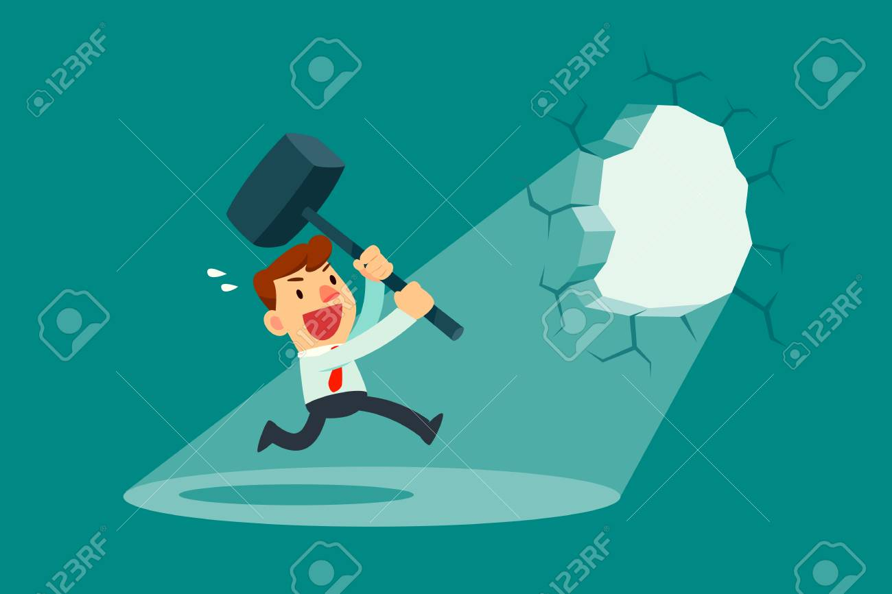 Businessman holding a hammer breaking through the wall. Business concept. - 88758198