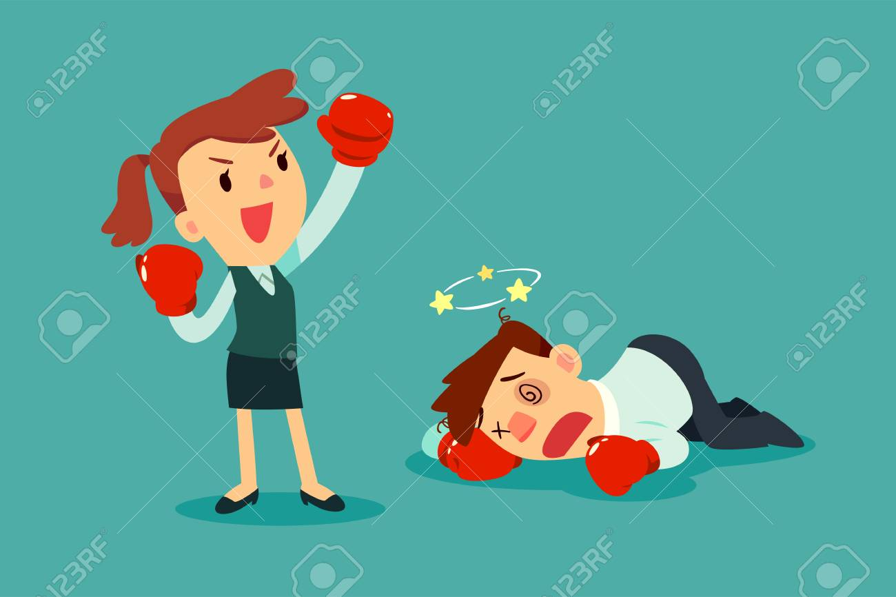 Businesswoman in boxing gloves won the fight against businessman. Business competition concept. - 92654697