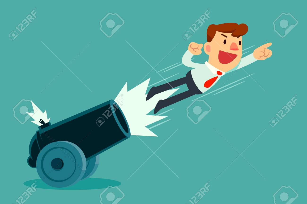 Businessman shot out of cannon. Business boosting concept. - 112365437