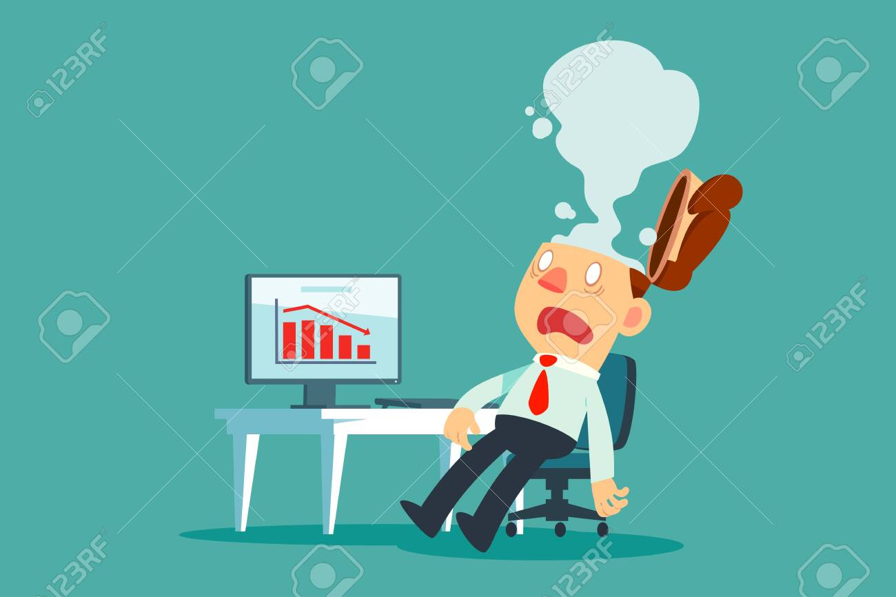 Exhausted businessman at his desk in office with smoke come out of his head. Business stress concept. - 134661462
