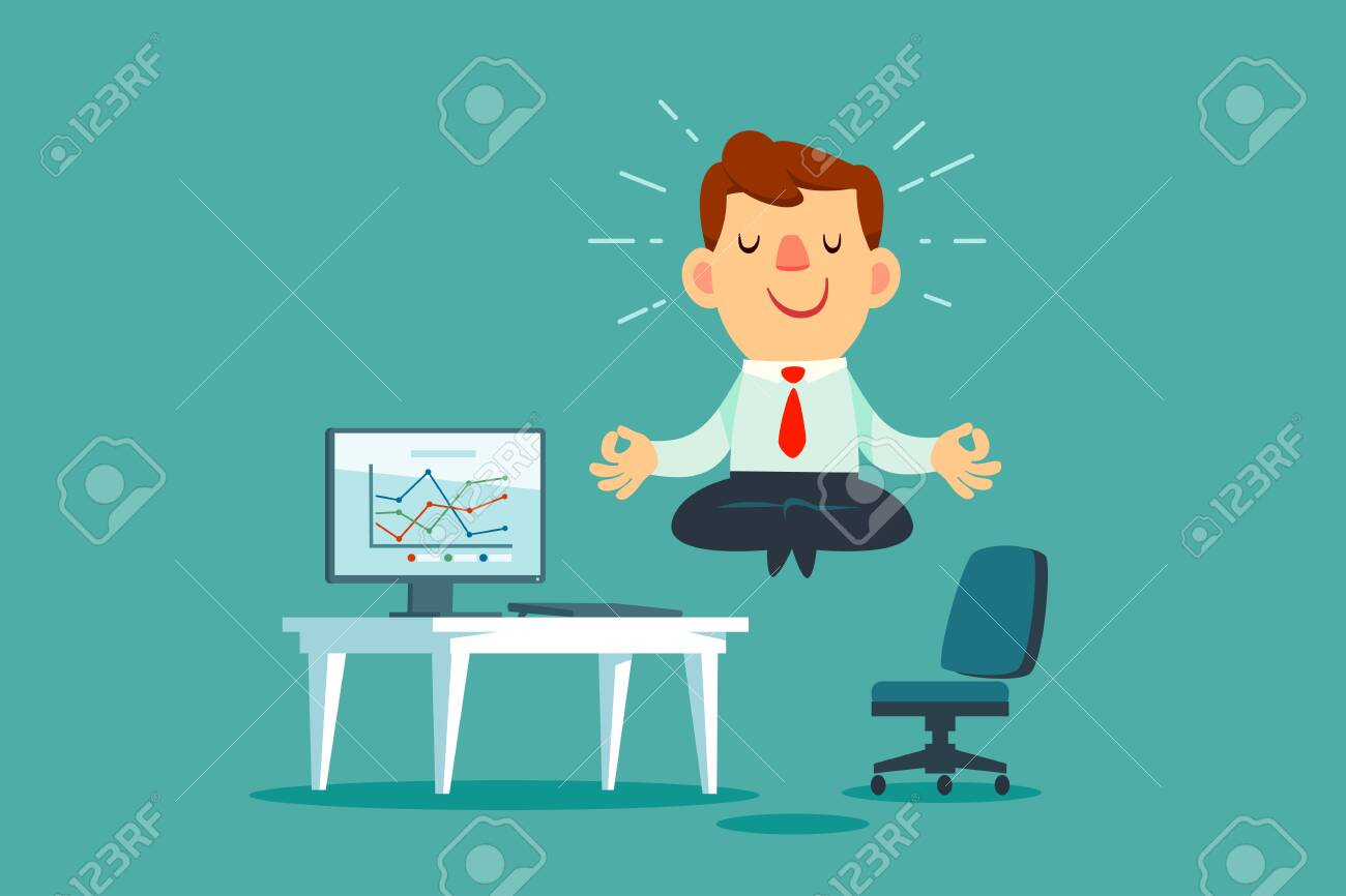 Happy businessman meditating and relaxing at office desk. Stress management business concept. - 134895516