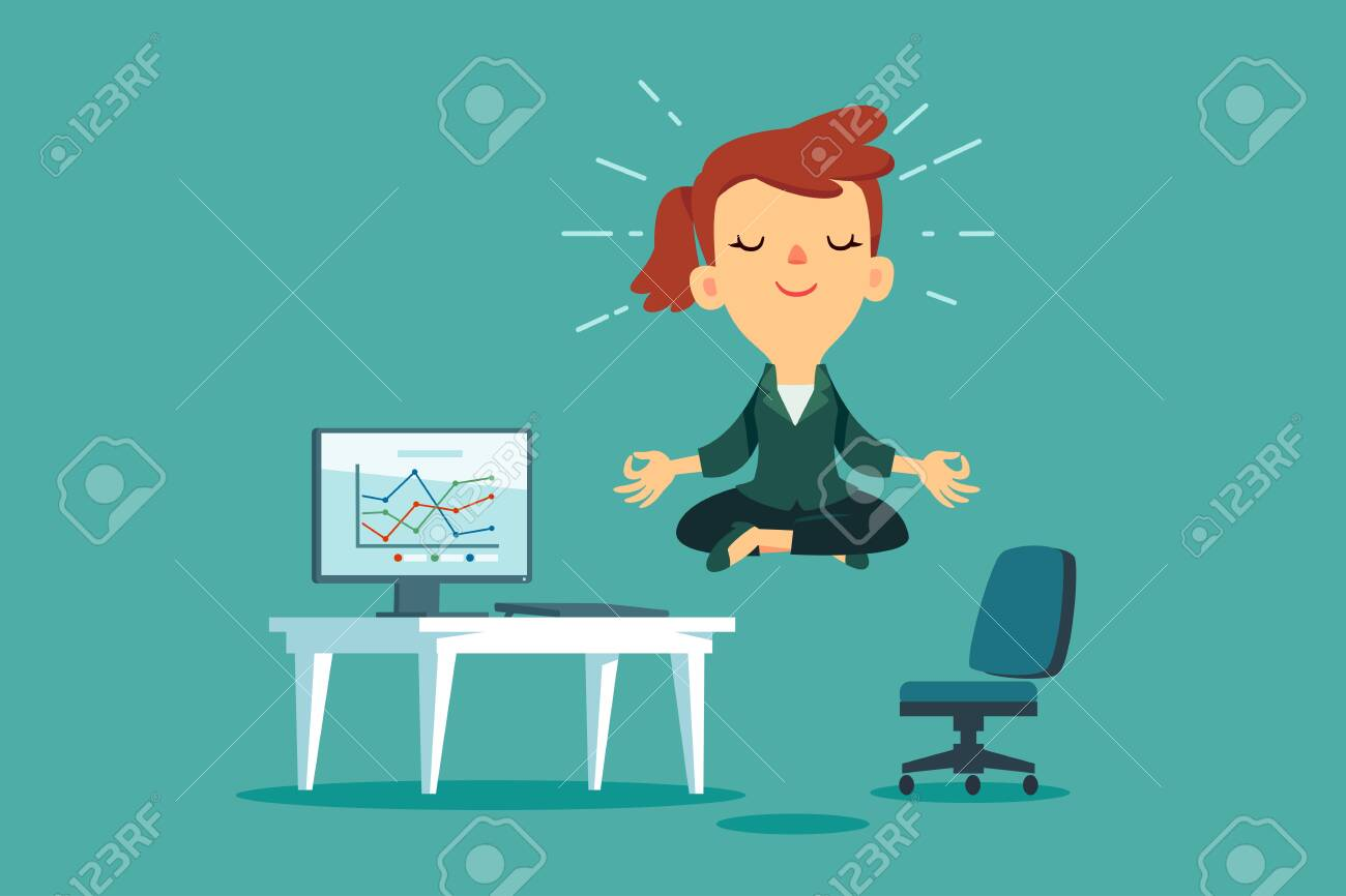 Happy businesswoman meditating and relaxing at office desk. Stress management business concept. - 134895520