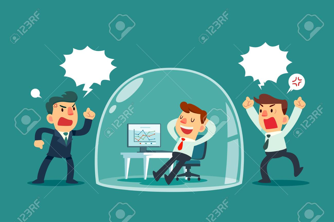Happy businessman relaxing inside glass dome while others colleagues shouting outside. Stress management business concept. - 134895521