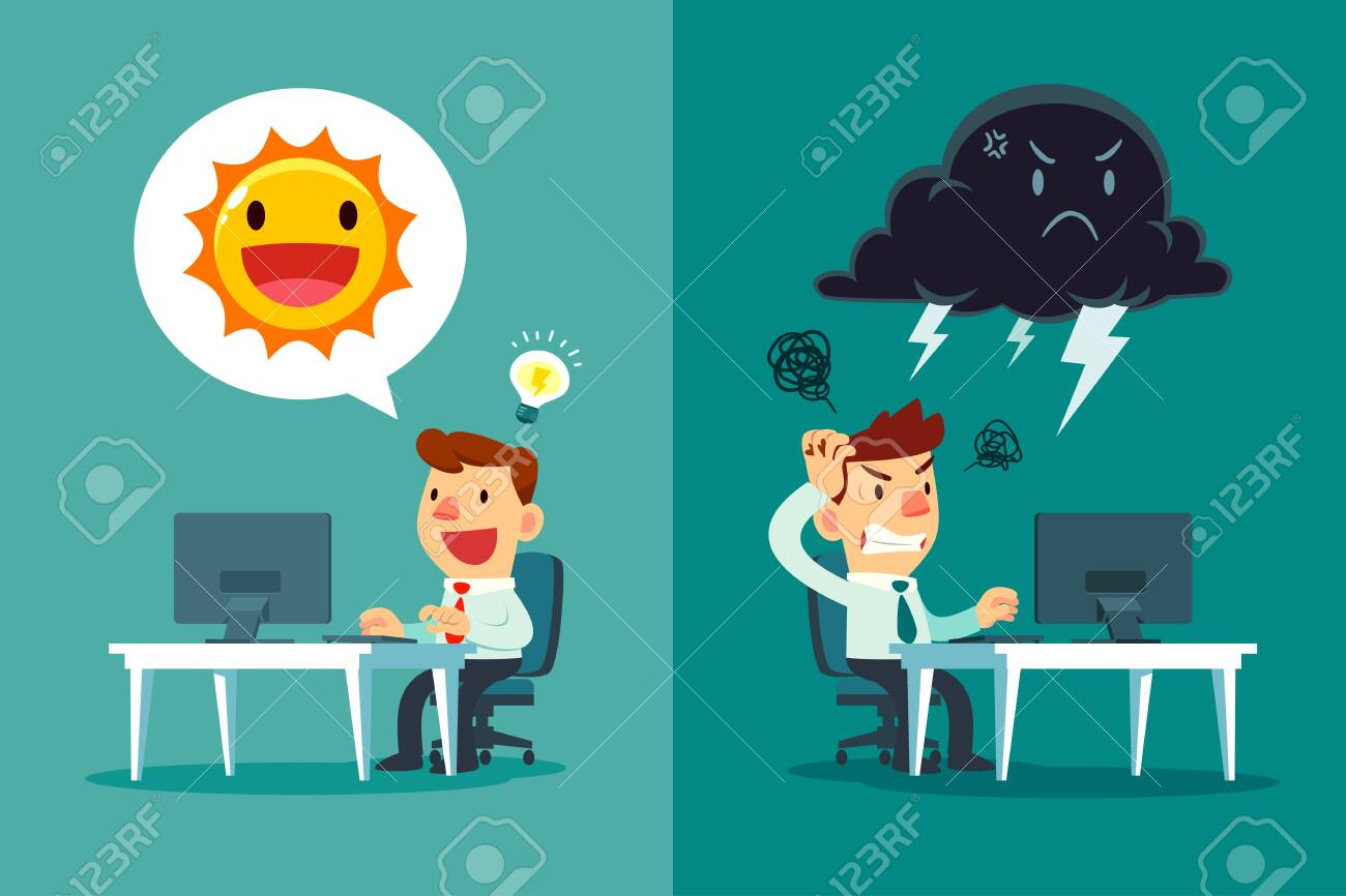 Happy businessman with sun symbol and frustrated businessman with thunder cloud symbol. positive and negative thinking business concept. - 137056349