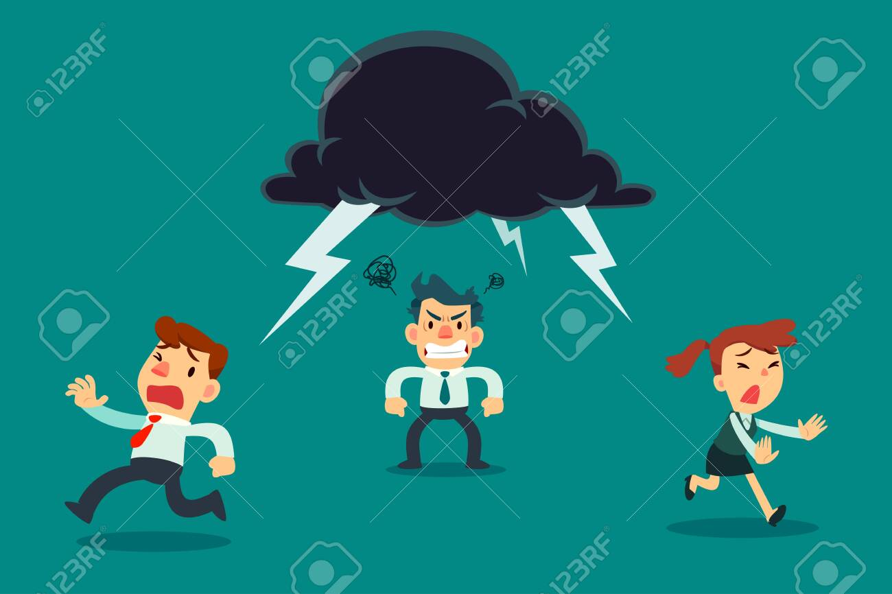 Business team running away from angry colleague with thunder cloud above his head. Business concept. - 137056352