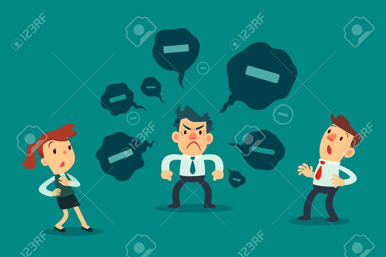 Stressed businessman spread negative thoughts to his colleague. toxic people business concept. - 137059402