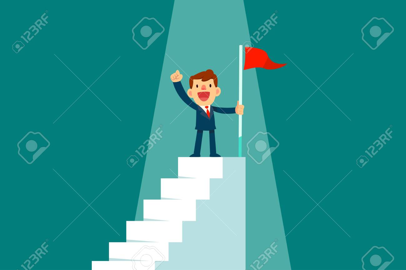 Successful businessman holding red flag on top of staircase. Successful business concept. - 139946874