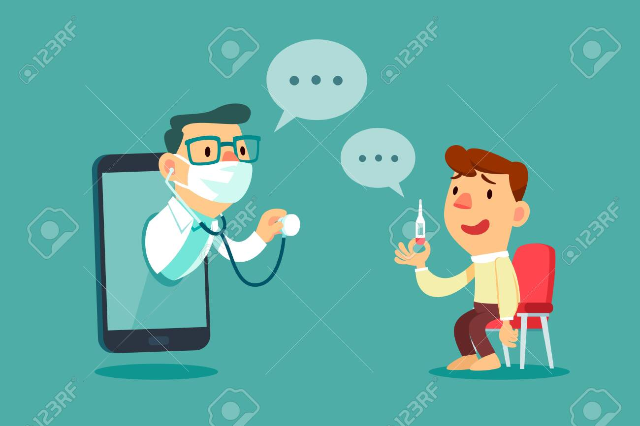 Male patient consult with doctor on smart phone screen. Online medical consultation concept. - 148959850
