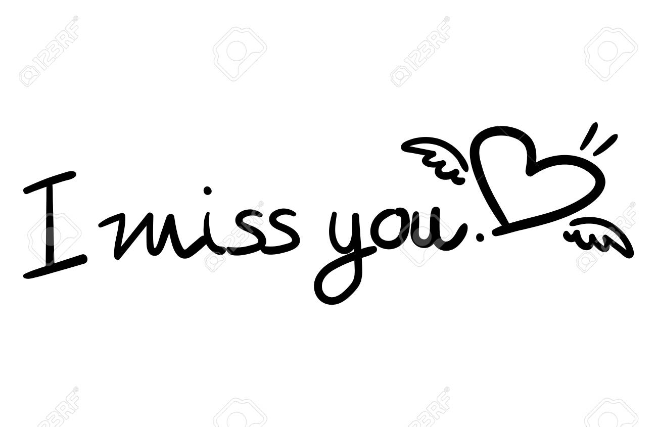 Vector Illustratie Van I Miss You Belettering Tekst En Hart Vorm