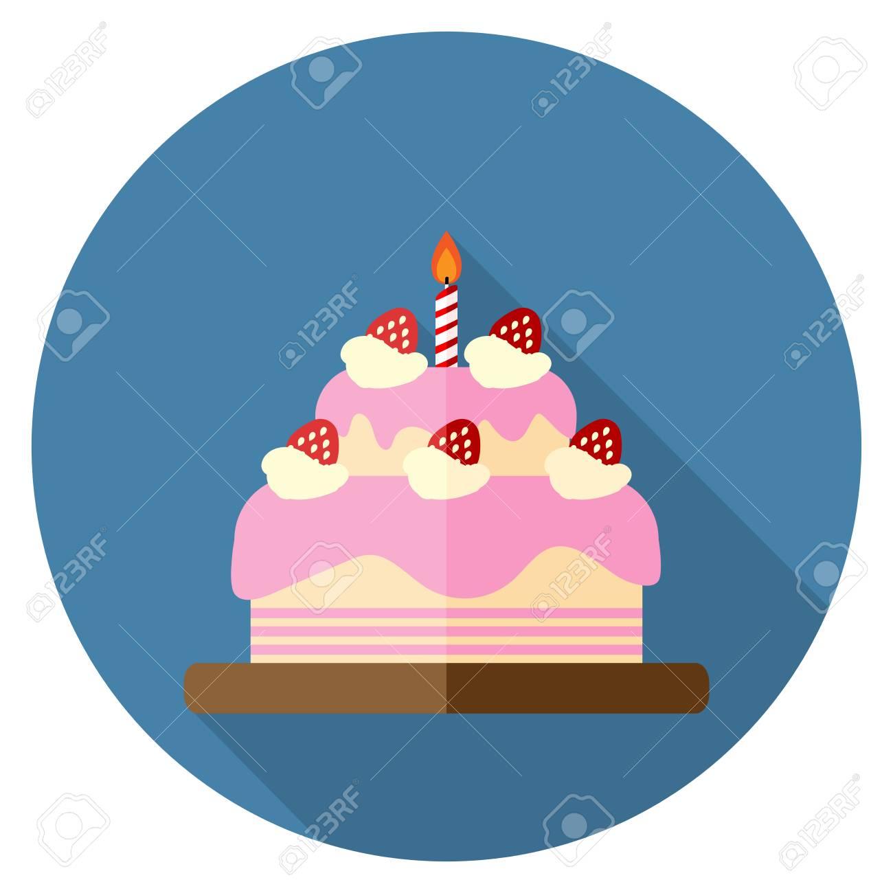 Vector Illustration Of Strawberry Birthday Cake Icon Flat Design