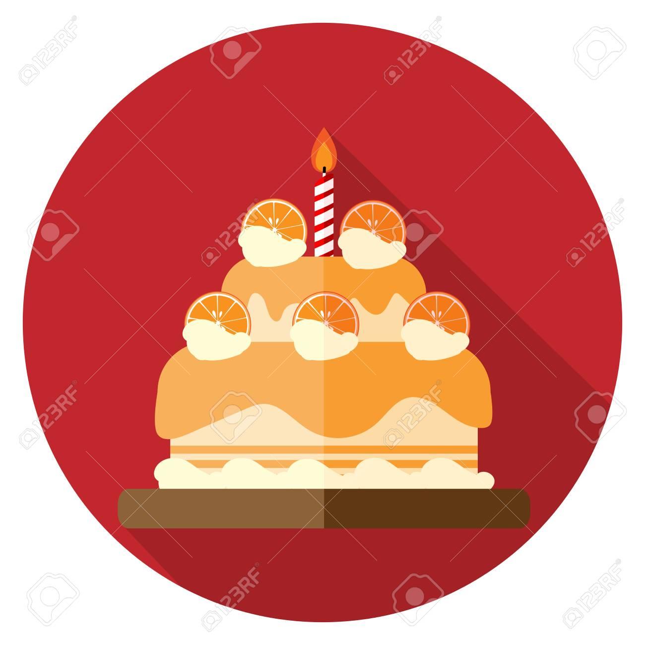 Vector Illustration Of Orange Birthday Cake Icon Flat Design