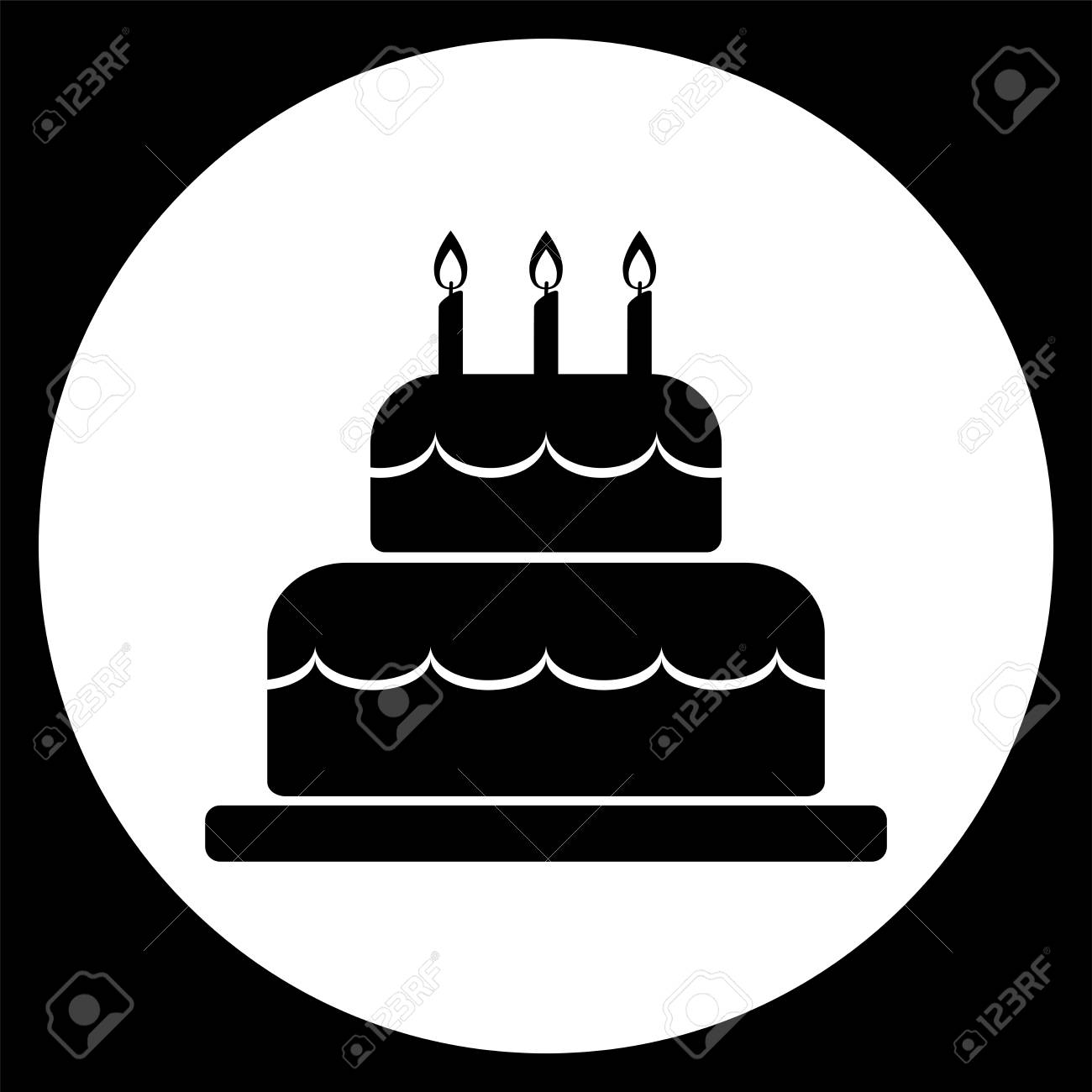 Vector Illustration Of Birthday Cake Icon In Black On White Circle