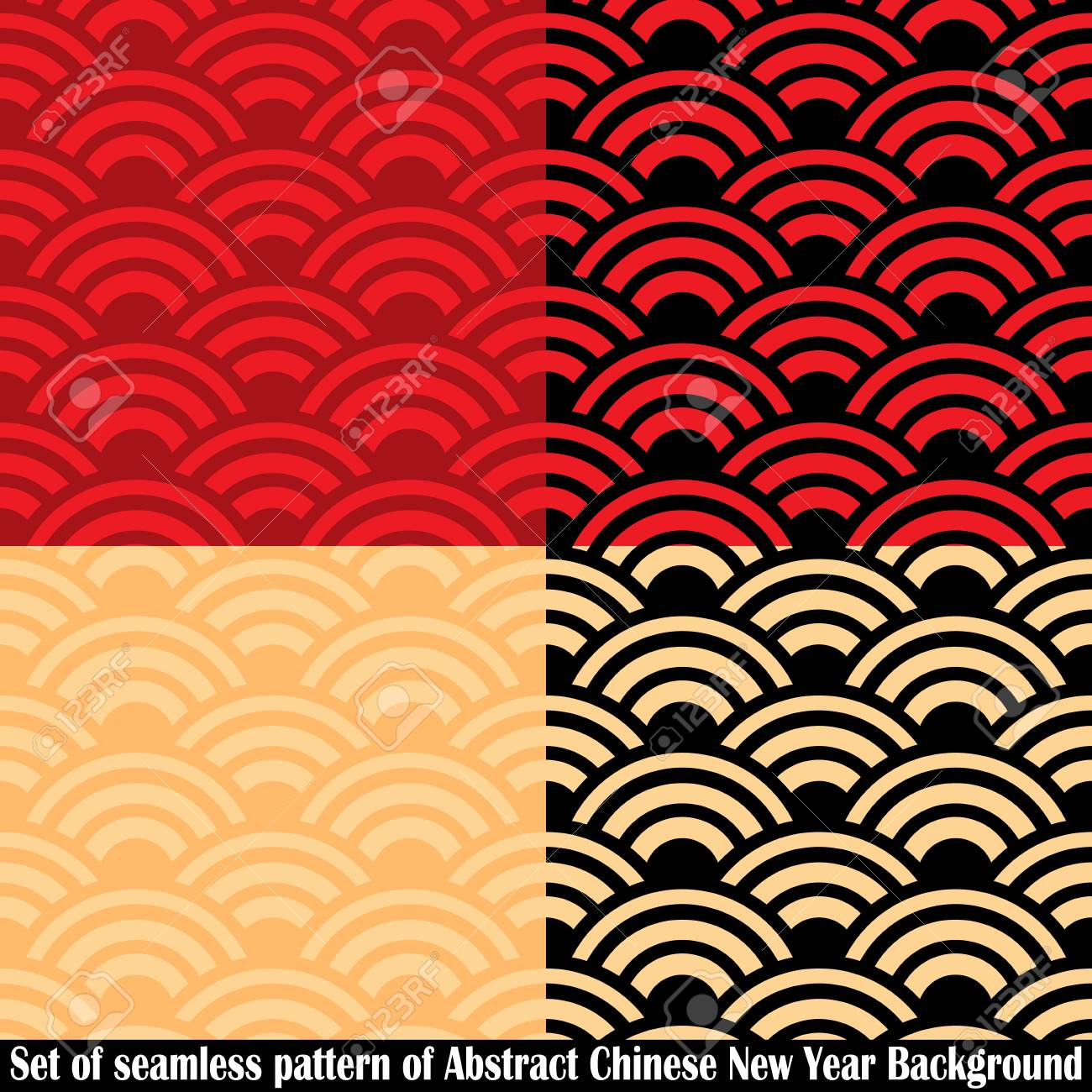 set of seamless pattern of abstract chinese new year background vector design vector illustration of