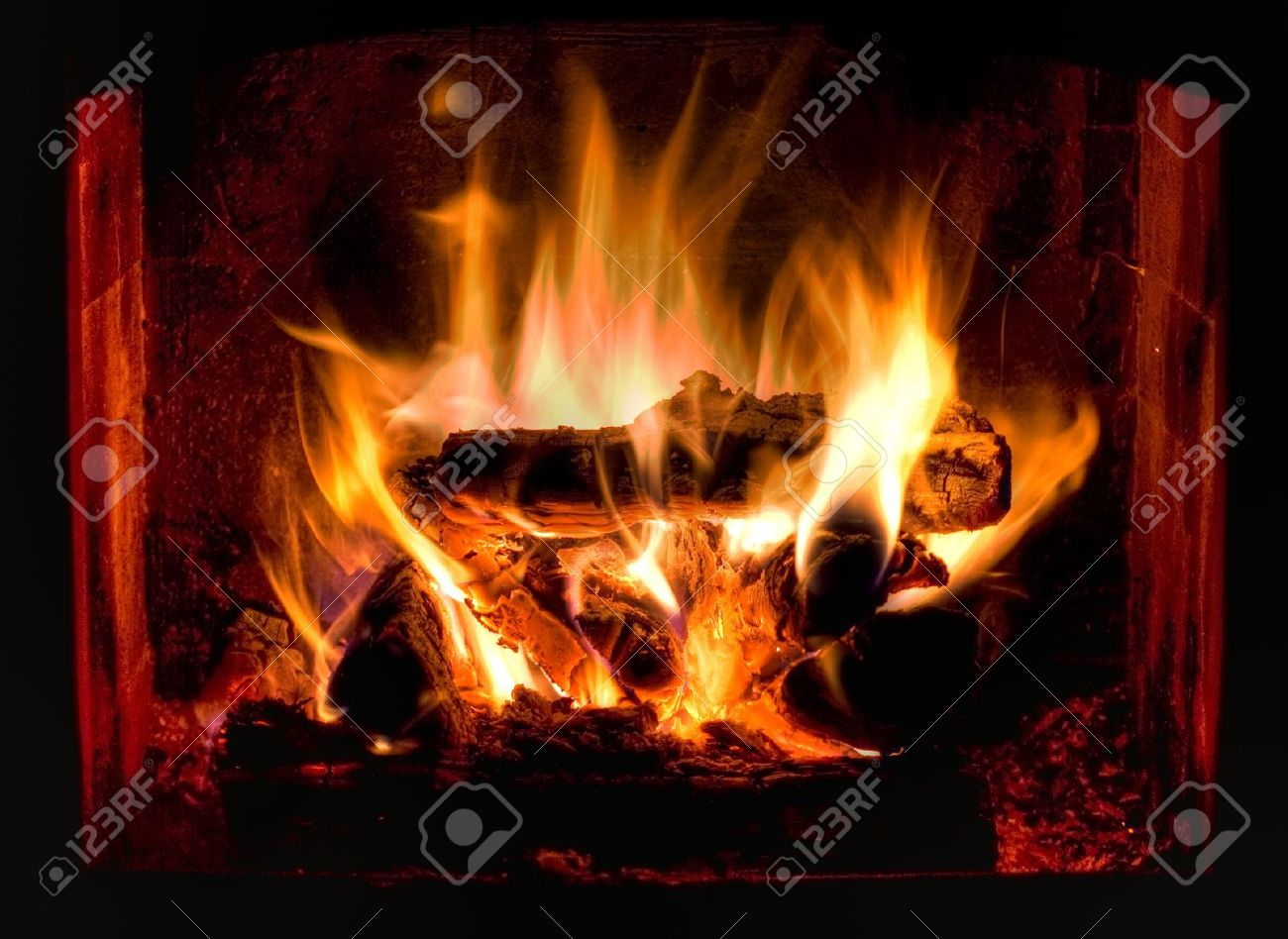 HDR Photo Of Hot And Cosy Fireplace Stock Photo, Picture And ...