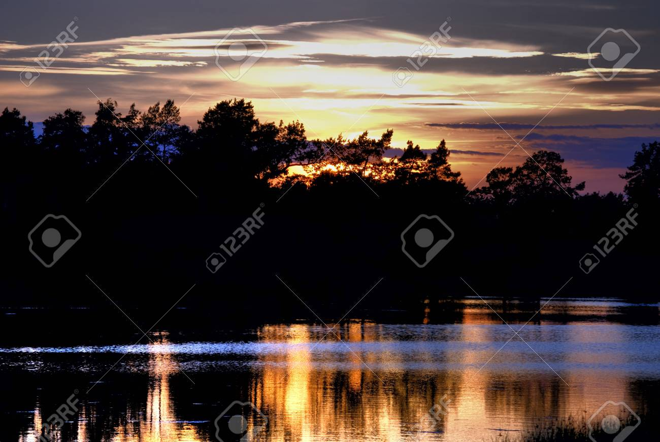 Colorful sunset reflected in the Baltic Sea Stock Photo - 10348070