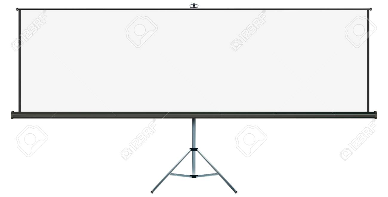 Screen with plenty of copy-space, place your own text or images on the wide projection screen Stock Vector - 10785009