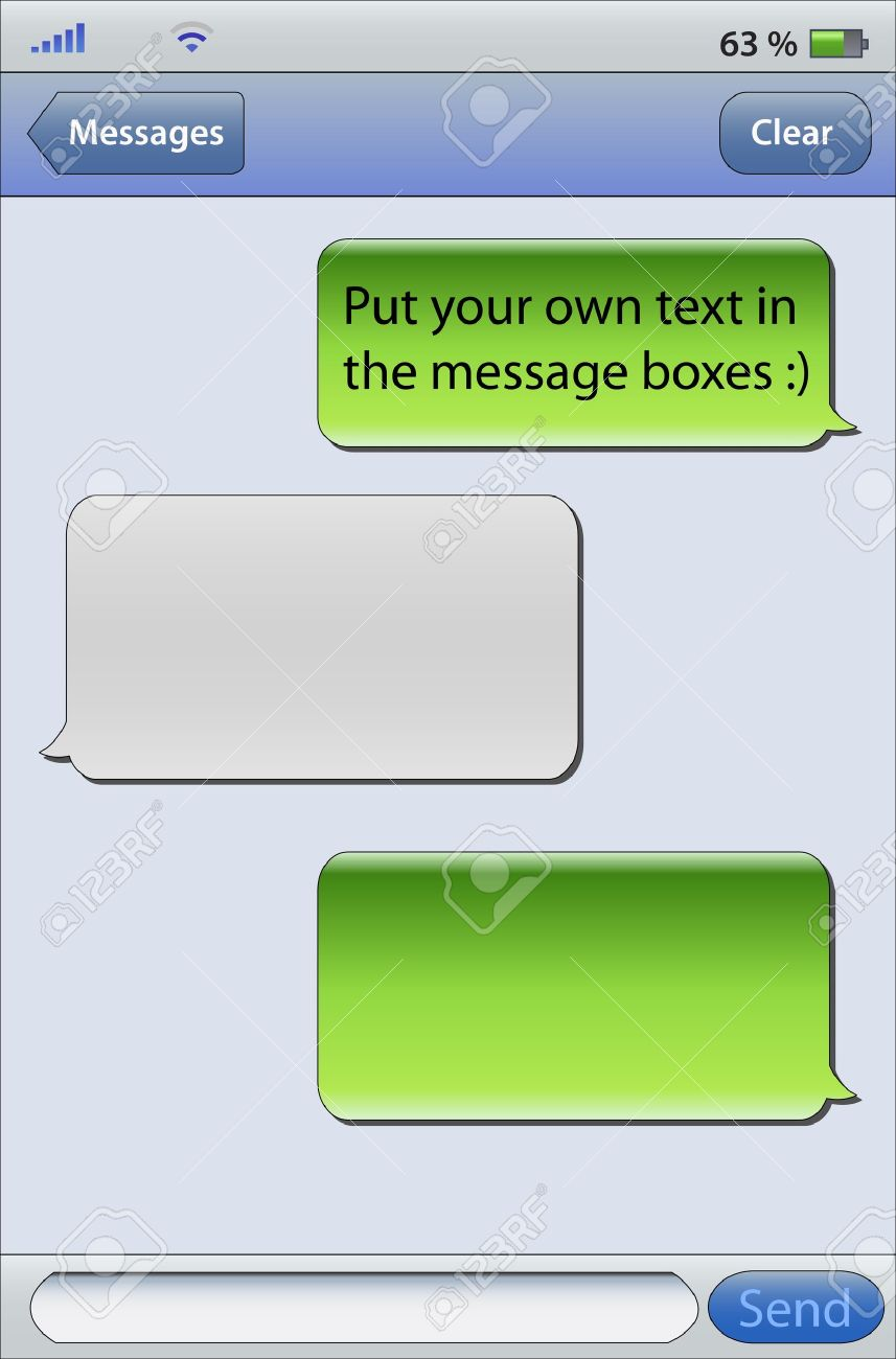 Place Your Own Text In The Message Boxes Messaging On Mobile Phones Stock Vector