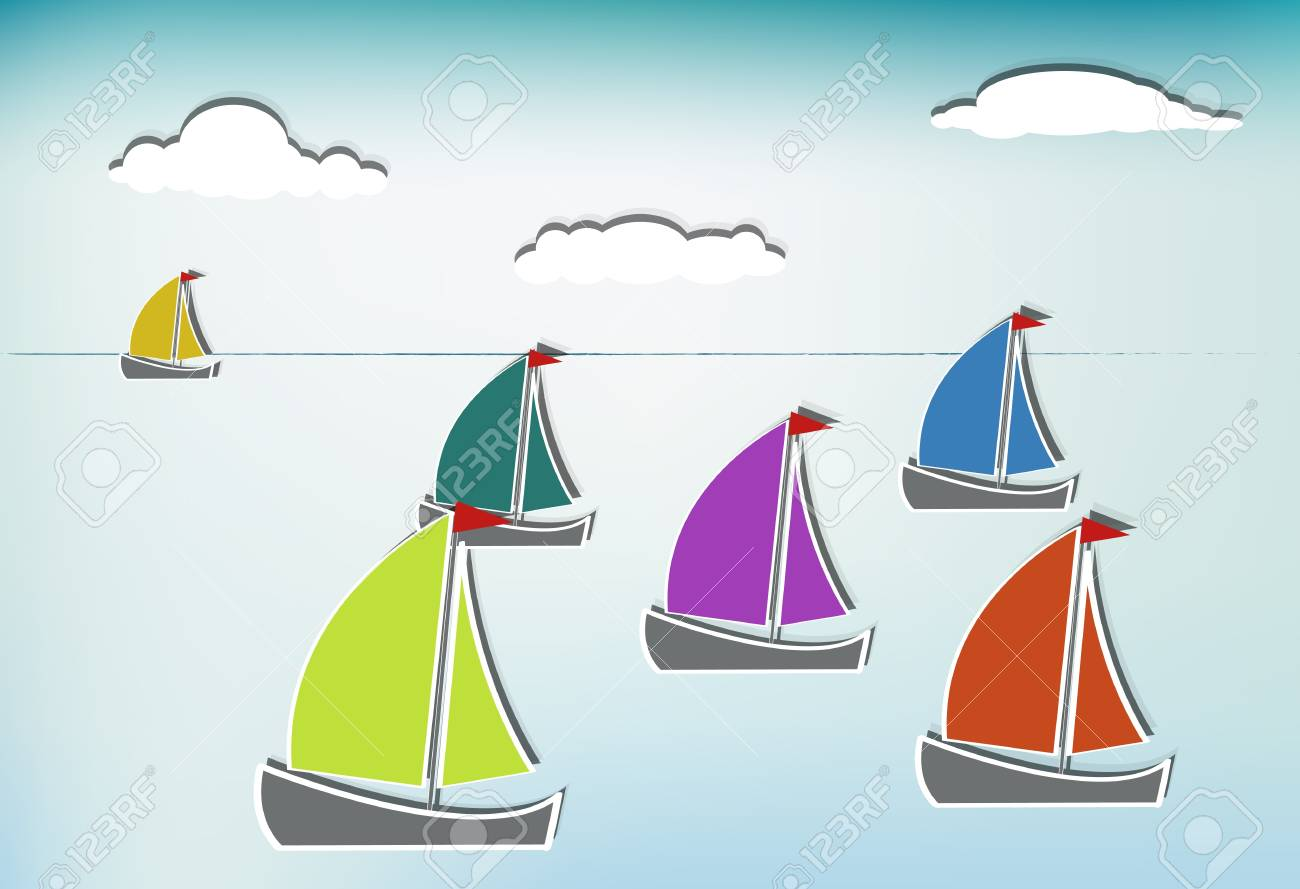 Colorful sailboats on a summer day Stock Vector - 12937445