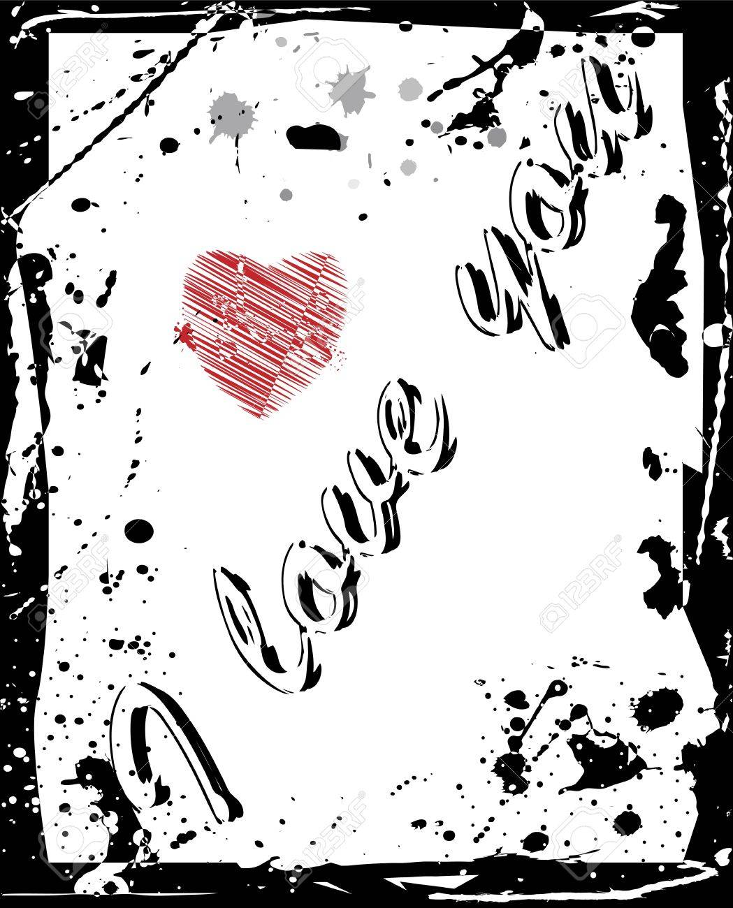 I love you written on grunge background with small red heart Stock Vector - 12937376