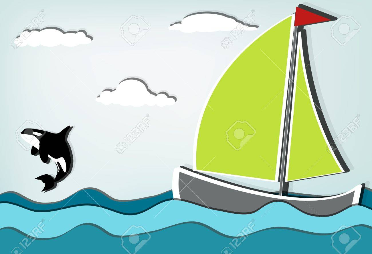 Orcinus orca, Killer whale jumping high behind sailboat Stock Vector - 12937405