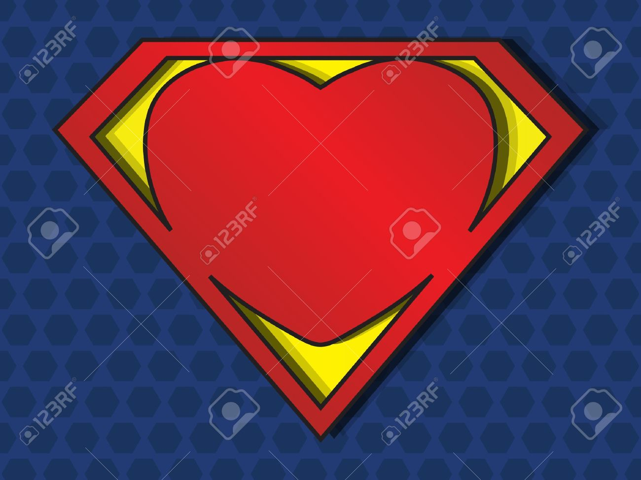 a big red heart shaped like a superhero shield, symbol for strong love - 12937397