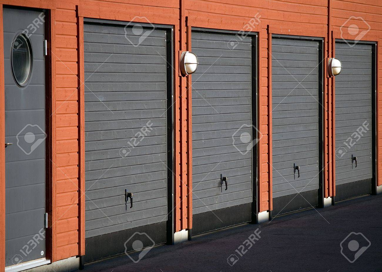 Modern Wooden Garage Doors In Gray And Black Stock Photo Picture
