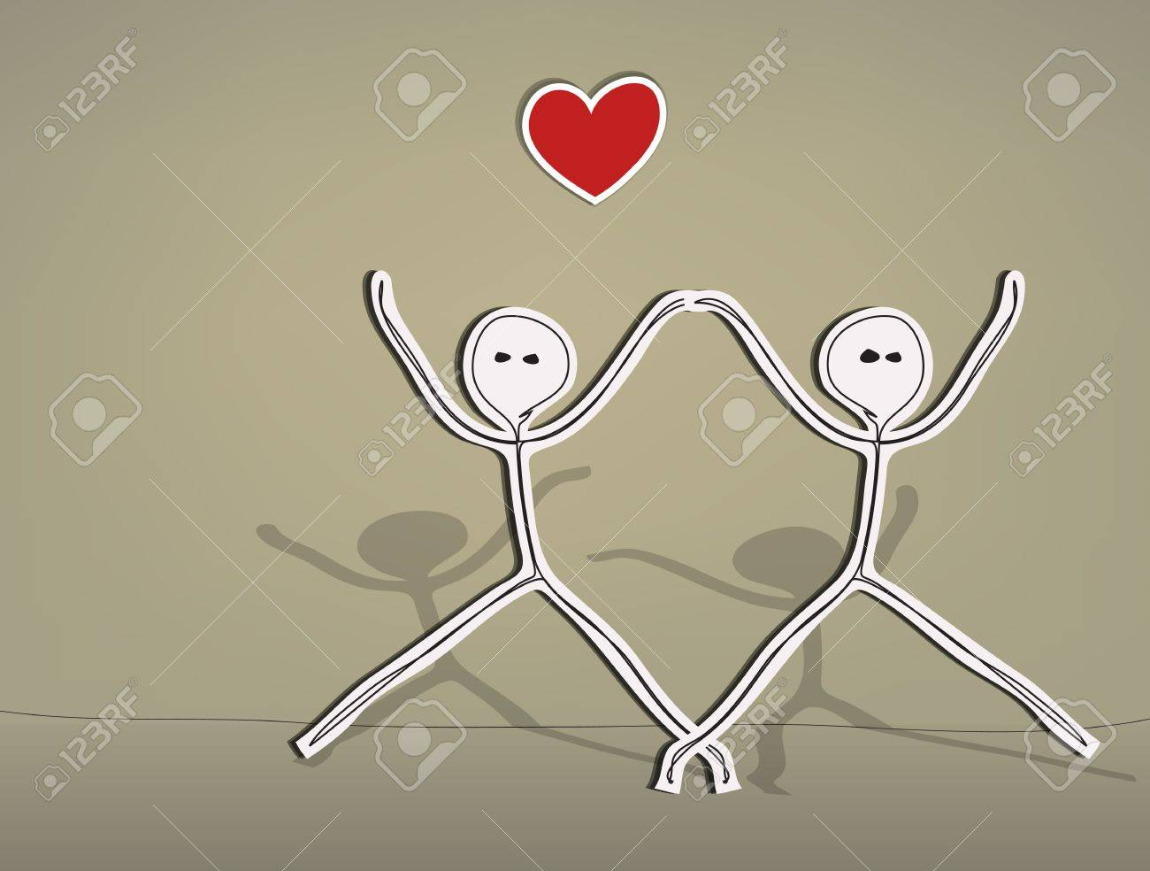 Hand drawn stick figures, happy lovers Stock Vector - 18496189