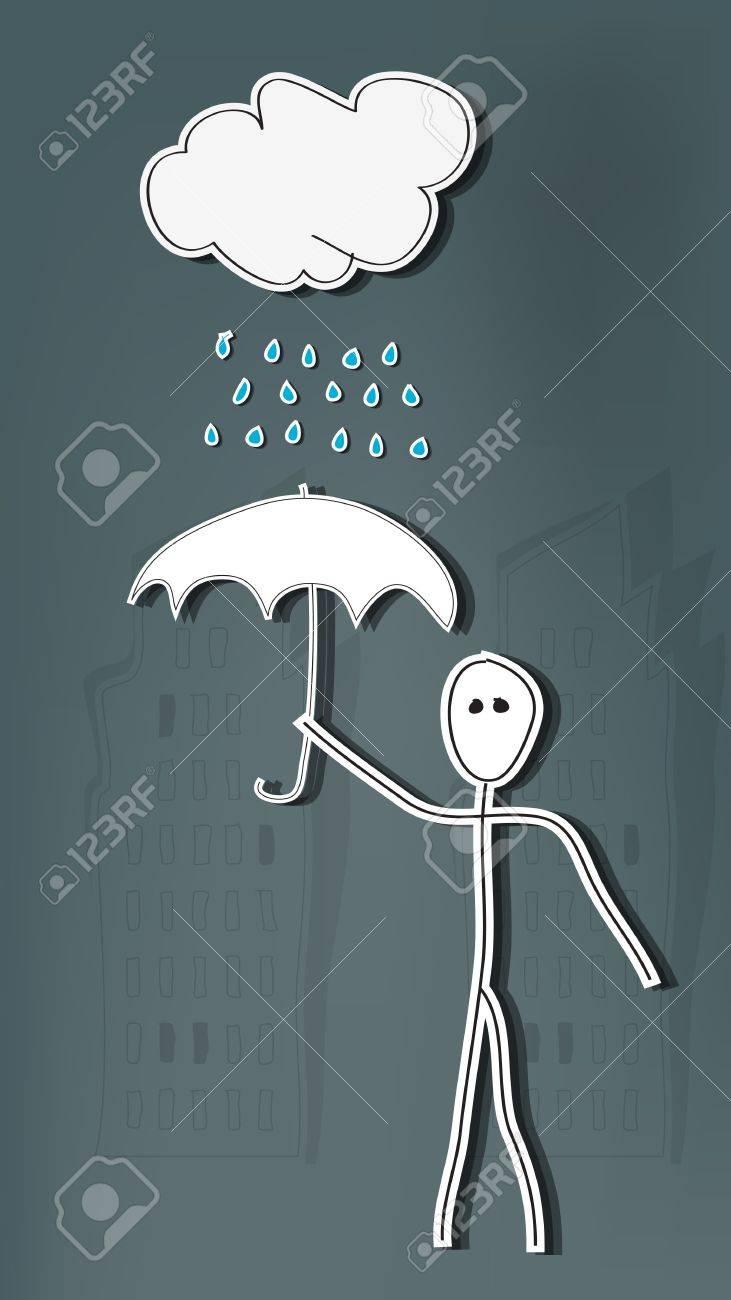 Hand drawn stick man with umbrella in rain Stock Vector - 18496230