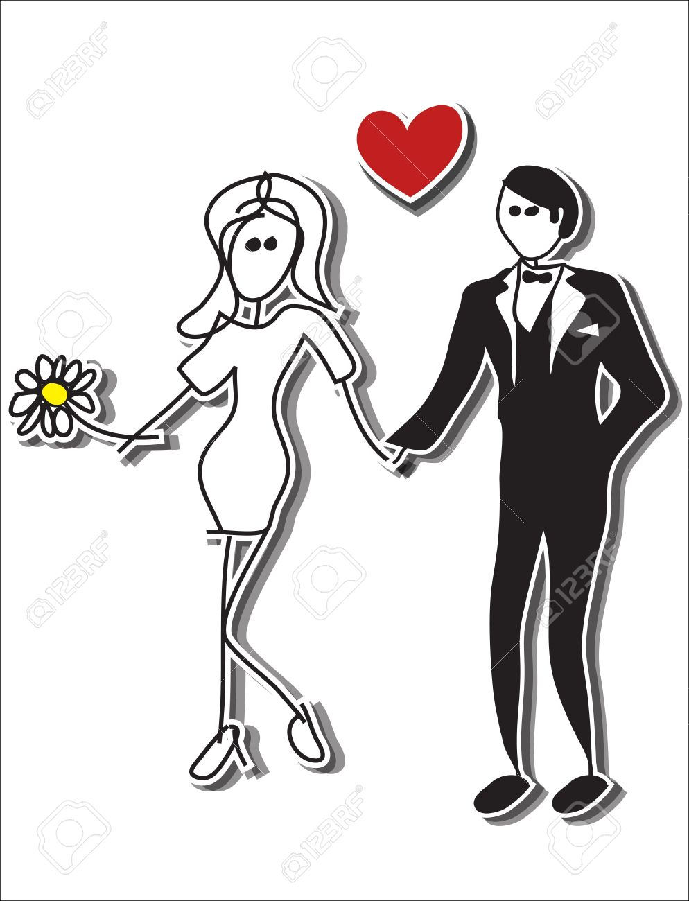Hand drawn stick figures, Couple in love at wedding Stock Vector - 18496200