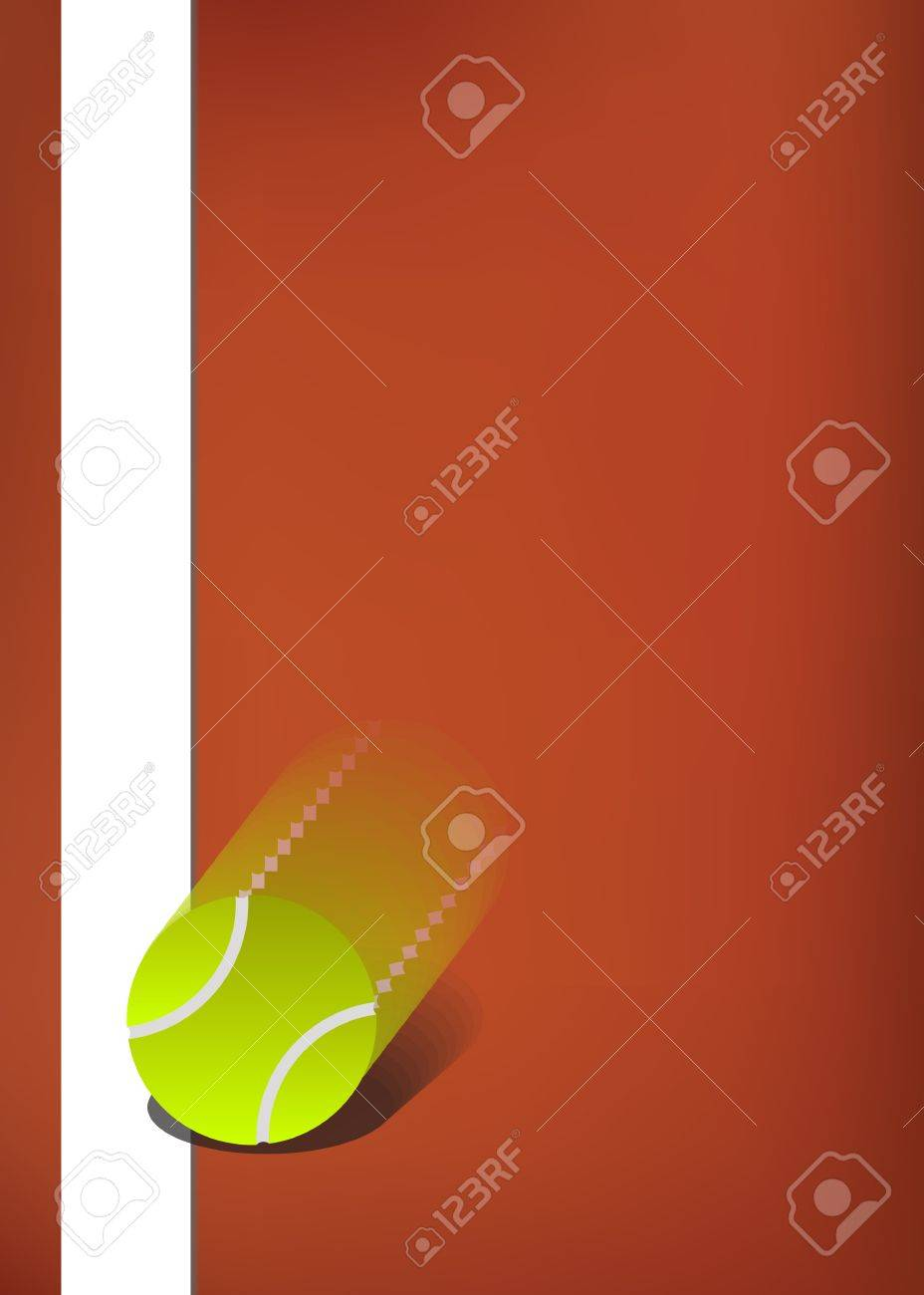 Tennis background, clay court with ball bouncing on the line Stock Vector - 20068329