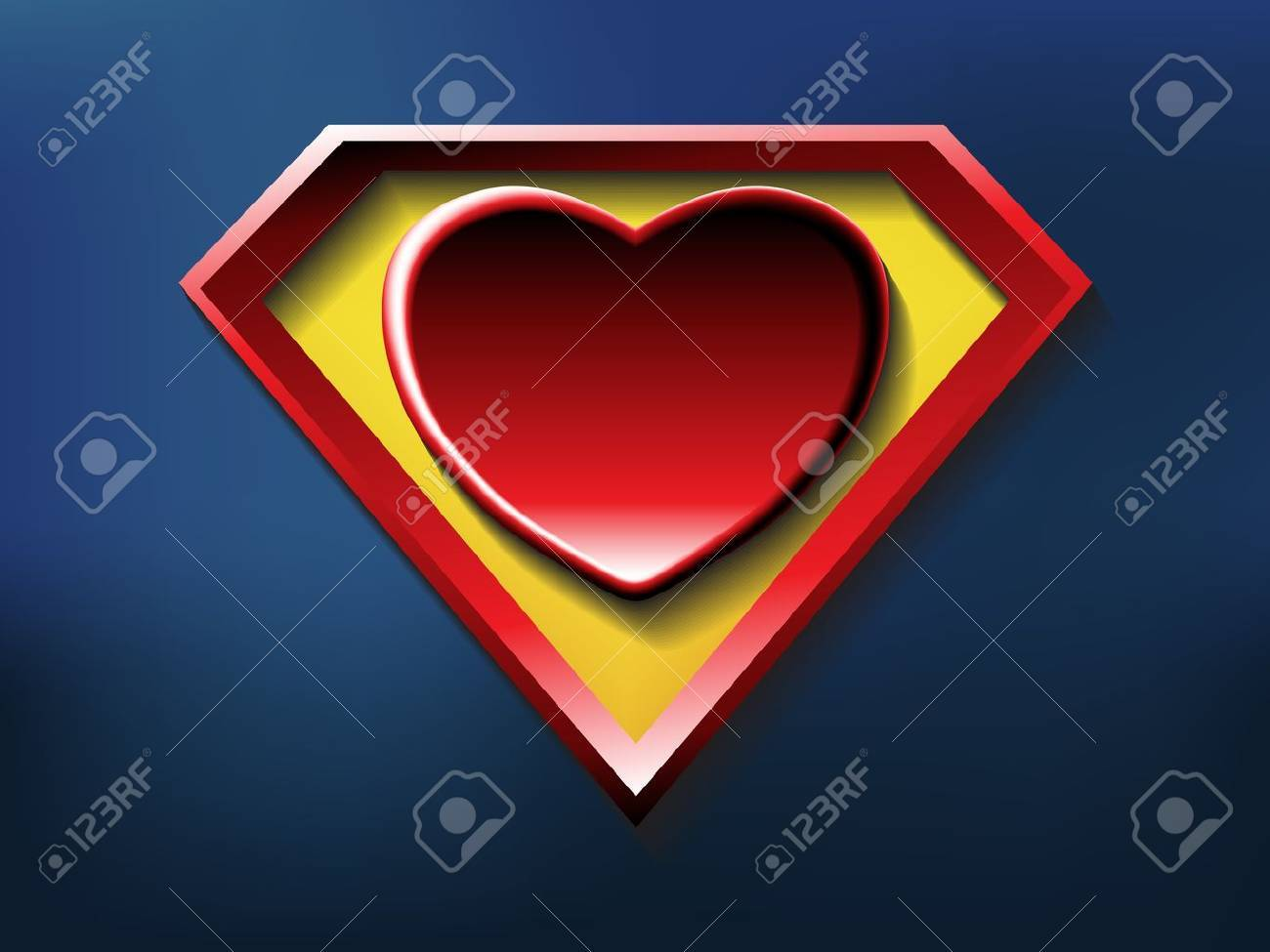 a big red heart shaped like a superhero shield, symbol for strong love Stock Vector - 20070741